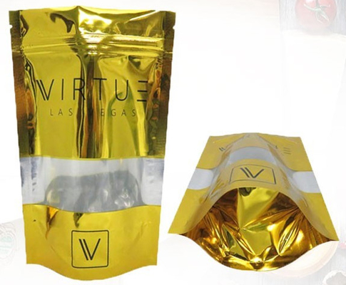 Good Quality Stand Up Plastic Bags & Gold Orangic Food Metalized Resealable Stand Up Ziplock Bags PET / PETVM / PE on sale