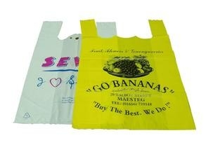 Custom Printed Plastic Shopping Bags Reusable For Cafes / Bread Stores
