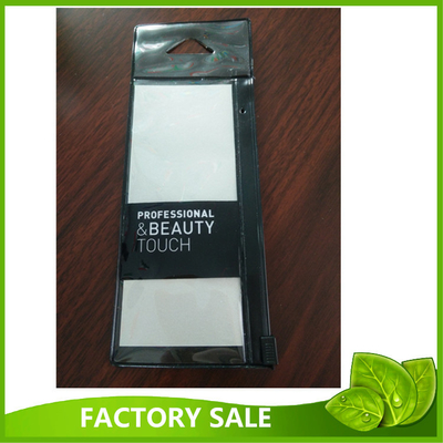 Flat Black Makeup Brush Packaging Pvc Zipper Bag With Hanging Hole And Card