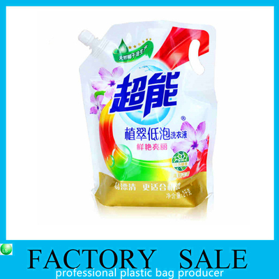 Custom Made Standup Squeezing Liquid Spout Bags , Plastic  Spout pouch for detergent packaging