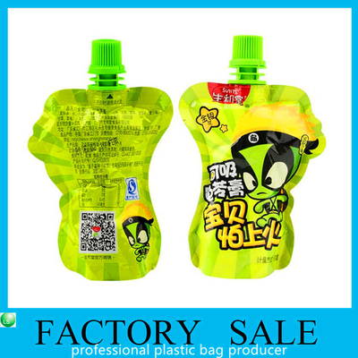 Green Color Printed 100ml Volume Packaging Bag , Stand Up Spout Pouch 60x80mm