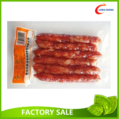 Flat Heat Seal Bottom Open Clear Vacuum Packaging Pouch For Sausages / Fruits