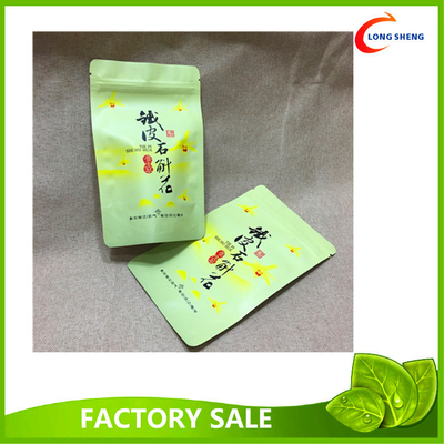 Custom Made Doypack / Bottom Gusset / Stand Up Plastic Bags , Green Tea packaging Bags
