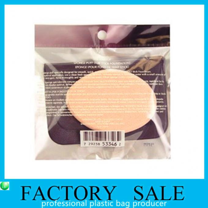 Hanging Hole Clear OPP Flat Style Plastic Ziplock Bags FOR Makeup Powder Puff
