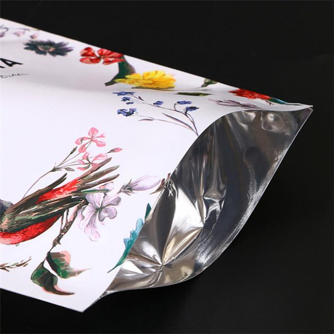 Flowery Printed Plastic Ziplock Stand Up Pouches With Hanging Hole for food packaging